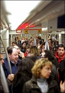 Crowded bus in Madrid