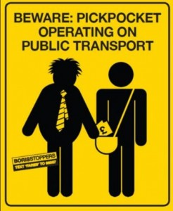 If pickpockets were not a problem on trains, you would not see signs like this