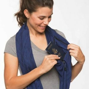 Anti theft infinity scarf to protect drivers license and ID